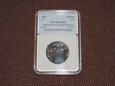Spanish 4 Reales Silver - Fisher Group 1St Year 1622 Atocha Shipwreck Find - Nnc