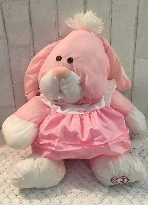 Vintage 1986 FISHER PRICE Pink White PUFFALUMP Bunny Rabbit w/ Dress 17""