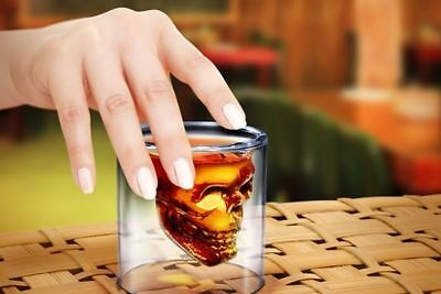 AU - 2 x Skull Head Shot Glass Fun Creative Designer Doomed Crystal Party Doom