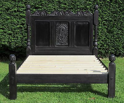 Gothic Carved Tudor Jacobean Oak King Size Double Bed with Pine Slat Base