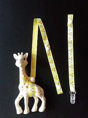 Sophie the giraffe strap,holder,toy saver/ buy 1 and get Free dummy clip holder