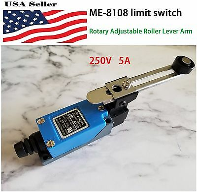 Waterproof ME-8108 Momentary Rotary Adjustable Roller Lever Limit Switch 250V 5A