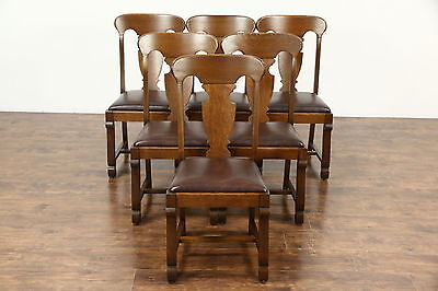 Set of 6 Quarter Sawn Oak 1900 Antique Empire Dining Chairs, New Leather, Signed