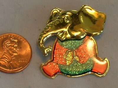 Sitting Elephant Pins w Gold Heads and Colorful Bodies