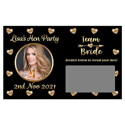 10 x Personalised TEAM BRIDE DARE Photo SCRATCH CARDS Hen Night Tribe Party Game