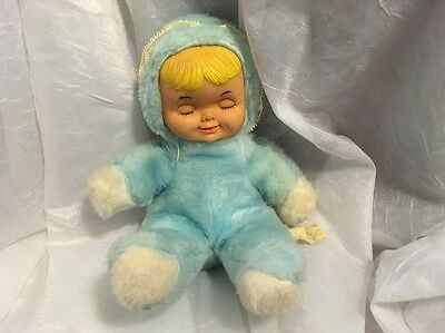 VINTAGE BANTAM Blue sleeping rubber face plush TOY girl doll