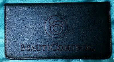 BEAUTICONTROL  Logo Checkbook Wallet with Photo/ID/Credit Card SLOTS - Black