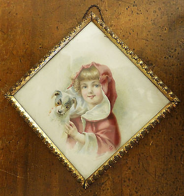 Antique VICTORIAN Germany FLUE COVER Girl with DOG Jack Russell Terrier LITHO