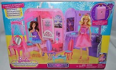 Nib-Barbie Princess & The Popstar Royal Bed & Bath-2 In 1 Carrying Case -Playset