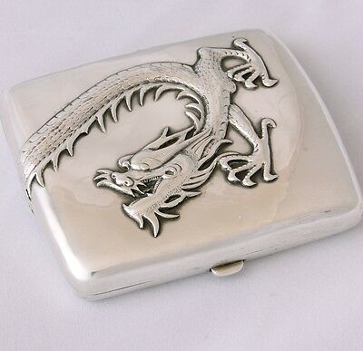 Chinese Export Silver Dragon Cigarette Case Heavy Gauge Asian Oriental
