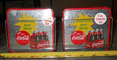 """2 Brand New~ 4 pc Sets - Coca-Cola Drinking Coasters~""""Enterain Your Thirst"""""""