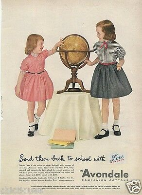 1954 Earth GLOBE Little Girls Dresses by Joseph Love AVONDALE Vintage Print Ad