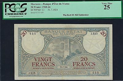 Morocco 31.7.1924 P-12 PCGS Very Fine 25 20 Francs (Ex: Ruth Hill Collection)
