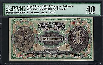 Haiti L. 1919 (ND 1920-24) P-150a PMG Extremely Fine 40 1 Gourde