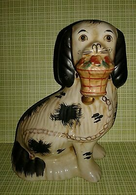 """Spaniel Fireplace Mantle Dog Flower Basket Chain or Doorstop Reproduction 7"""""""
