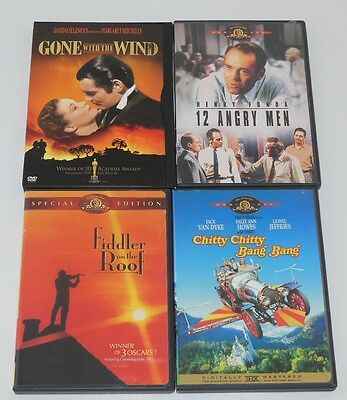 Lot of 4 DVDs Oscar Classics Gone with the Wind 12 Angry Men Fiddler on the Roof