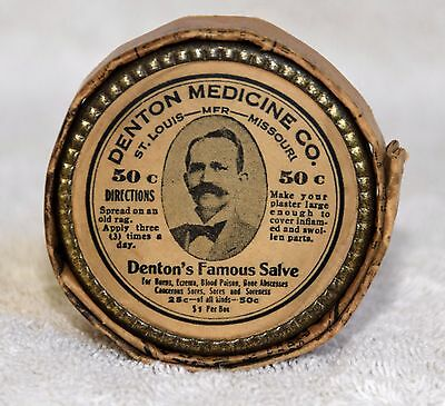 Vtg Denton Medicine Co  Famous Salve Tin- Snake Oil- Original packaging/label