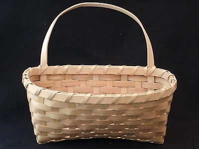Hand-Made Artisan Woven Wooden BASKET With Handle Excellent Condition