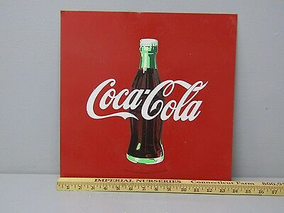 "Vintage Coca-Cola Coke Tin Metal Advertising Sign 14"" x 14"""