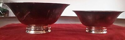 Vintage Signed TOWLE Silver plate Flared Footed Vegetable Bowl Set of 2
