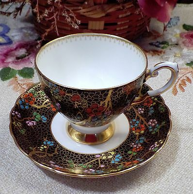 """Rare Tuscan Teacup and Saucer Black & Gold With Enamel Flowers """"Beautiful"""""""