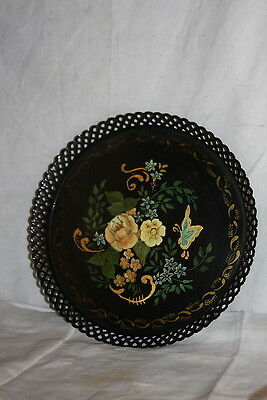 Vintage 1950 Tole Pierced Tray Yellow Rose Butterfly Hand Painted  Signed