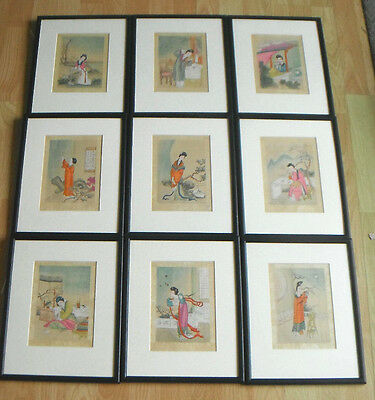 9 Watercolour Paintings on Silk of Chinese Concubines - framed glazed mounted