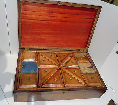 Victorian Marquetry Inlaid Box with Interior Satin Wood Fittings