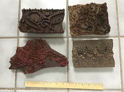 4 Vintage Hand Cut Wooden Blocks for Block Printing from India Floral Patterns
