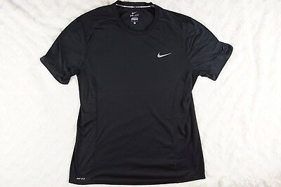Nike Running Dri Fit Dry Miler Black Short Sleeve Shirt Mens Sz Medium