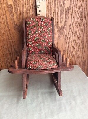 Vintage PlyWood Rocking Chair Pin Cushion Thread Holder Caddy