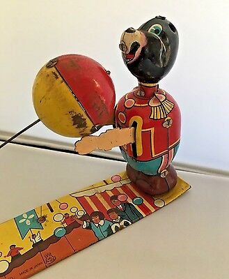Rare Vintage Wind Up Tin Litho Toy Uniformed Circus Bears Throwing Ball