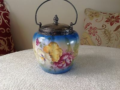 Antique Victorian Hand Painted Biscuit Barrel / Jar with Silverplate Lid