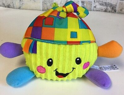 Fisher-Price Colorful Laughing Giggle Plush Smile Ball Baby Toy *ln*