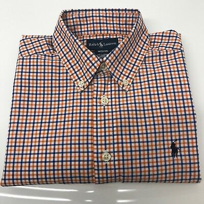 POLO RALPH LAUREN PLAID DRESS SHIRT Long Sleeve BOYS SIZE Medium 12/14 EUC