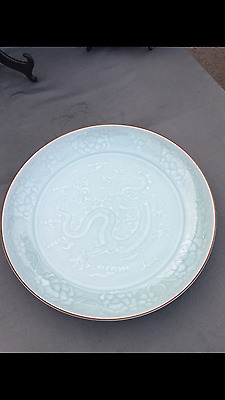 A Chinese Vintage Celadon Glazed Porcelain Charger with Dragon Decorated.