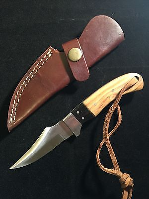 Hunting Knife Brown Pakka Wood Handle Stainless Steel Blade Brown Leather Sheath