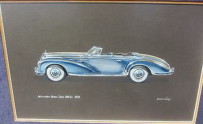 Stunning Signed Mercedes Benz 1958 Type 300Sc Hand Tinted Print Vintage
