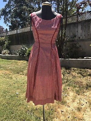 VTG 1950s RED WHITE GINGHAM COTTON DAY PARTY DRESS RIC RAC TRIM XS/S ROCKABILLY