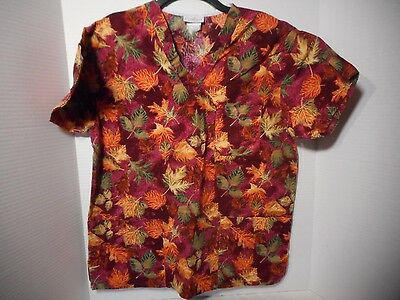 Peaches Fall Leaf Print Scrub Medical Nursing Uniform Top Size Medium