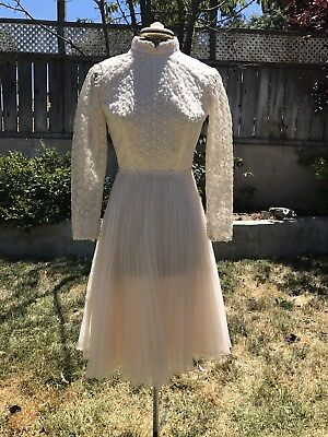 VTG 1950s BABY PINK PARTY DRESS KNIFE PLEATED LACE OVERLAY SHEER S/M