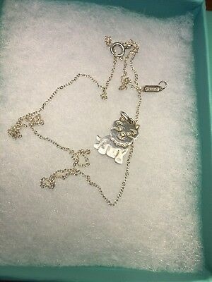 Authentic! Tiffany Co Yorkie Pendant Yorkshire Terrier Silver 16 Inch Tiffany Ch