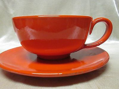 THREE (3) SETS Orange / Red Vintage Italian Pottery Soup Bowl w/Handle + Plate
