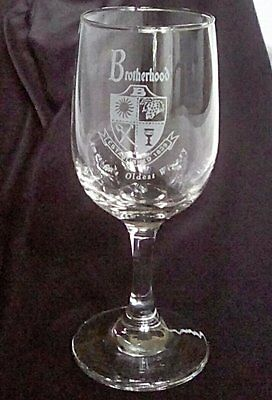 Vintage Brotherhood Winery Wine Glass Etched Logo Design America's Oldest