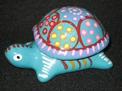 Jewelry/Trinket Box Hand Painted Turtle Mexican Pottery Art UNIQUE XMAS Gift