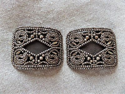 Antique Cut Steel Shoe Buckles France Gold and Brown