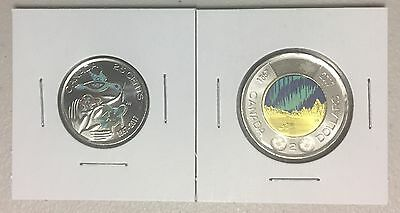 CANADA 2017 New Quarter/Toonie (GID) Kit 150th of CANADA in COLOR (BU from roll)