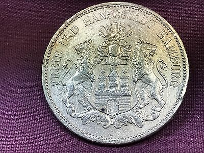 T2: World Coin German State of Hamburg 1895 J 5 Mark