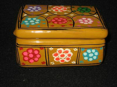 Jewelry/Trinket Box Hand Painted Guerrero Mexican Pottery Art UNIQUE XMAS Gift