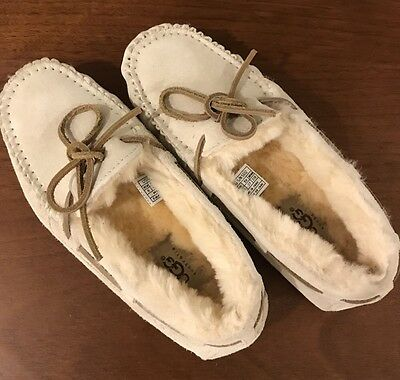 UGG Australia Women's Moccasin Slippers, Suede, Ivory, Size 6